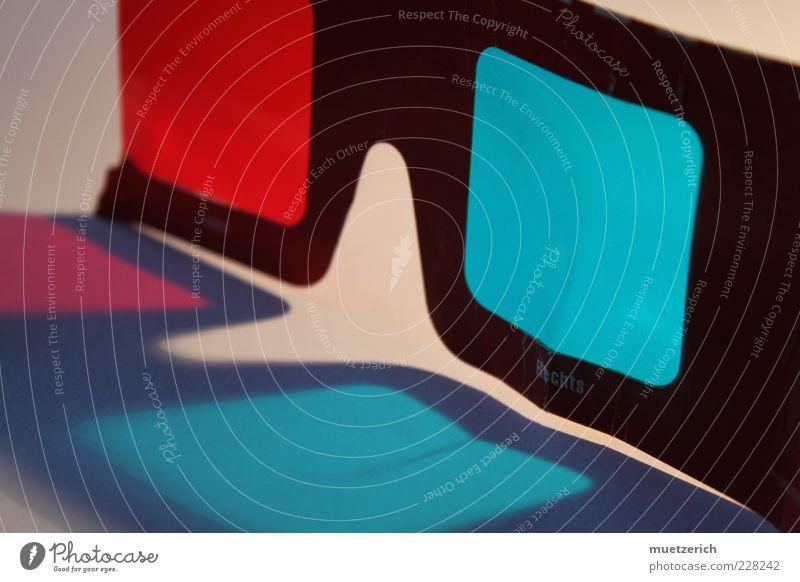 Drei Dimensionen Technik & Technologie Unterhaltungselektronik Fortschritt Zukunft Medien Fernsehen Fernseher Fernsehen schauen Brille blau rot ästhetisch Farbe