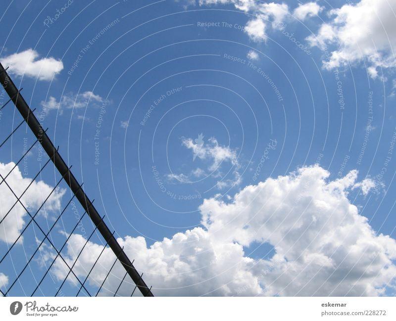Grenze Himmel Wolken Schönes Wetter Menschenleer ästhetisch blau Barriere Zaun Gitter Draht Drahtzaun Halt Gitterzaun Metallzaun Freiheit Farbfoto Außenaufnahme
