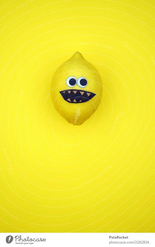 #AS# Mr. Sauer Fitness Sport-Training Diät Kreativität Zitrone Gesicht Experiment lustig sauer Basteln Geschmackssinn verrückt Frucht gelb lachen Auge Idee