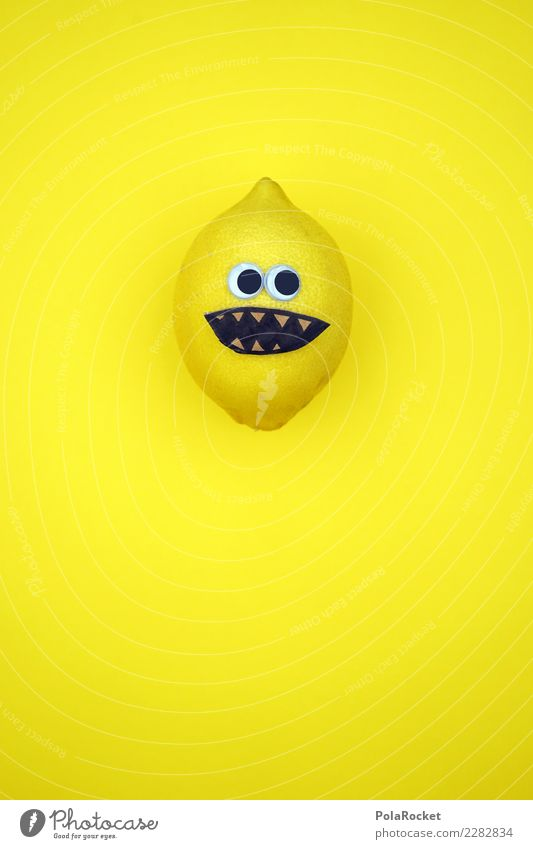 #AS# Mr. Sauer Gesicht Auge Essen gelb Gesundheit lustig lachen Frucht Ernährung Kreativität verrückt Idee Fitness kaufen Sport-Training Markt