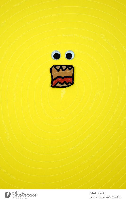 #AS# huaaaaaarrrrrr Kunst Angst Verzweiflung gelb Auge schreien Wut Karton Mund dumm verrückt Kreativität Zähne Farbfoto Innenaufnahme Studioaufnahme