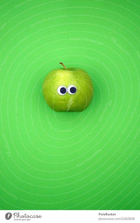 #AS# schüchtern Fitness Sport-Training Diät Apfel grün Schüchternheit verlegen Frucht Markt Gesichtsausdruck Gesunde Ernährung Auge kaufen Essen spionieren