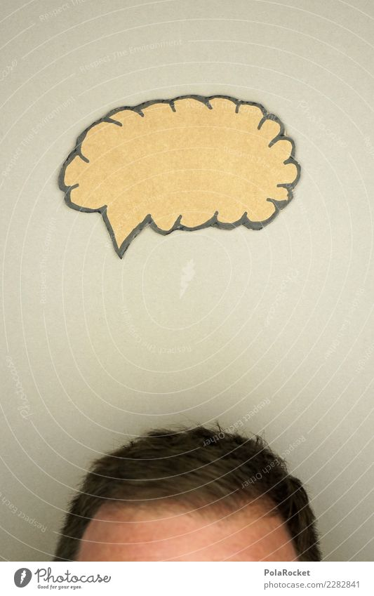 #AS# Idee im Kopf? Mensch maskulin Denken Kommunizieren Sprechblase Gedankenarmut Experiment Basteln Haare & Frisuren braun Brainstorming Sitzung grau sprechen