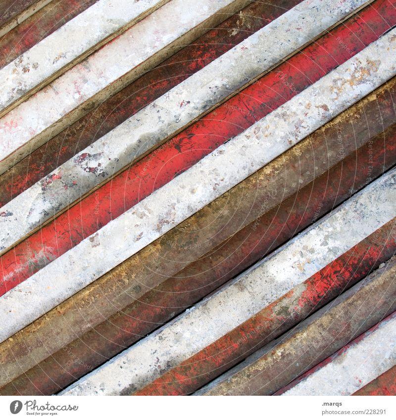 Altmetall Stil Metall Linie alt dreckig einfach rot weiß Farbe Vergänglichkeit Rost Lack gestreift Farbfoto Nahaufnahme abstrakt Muster Menschenleer eng