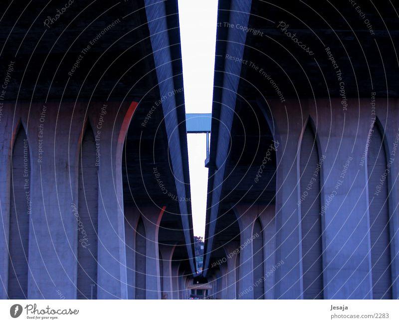 Over pass blau Straße dunkel Architektur leer