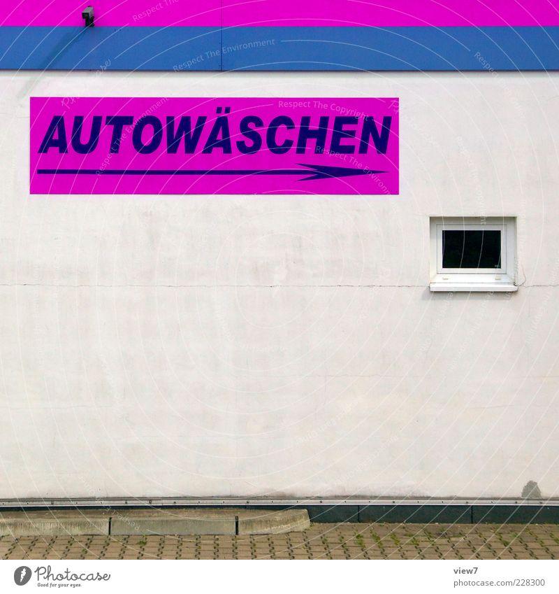 Wachs & Glanz Fenster Wand Mauer Stein Linie rosa Fassade Beton Design modern frisch ästhetisch authentisch Schriftzeichen einfach Zeichen