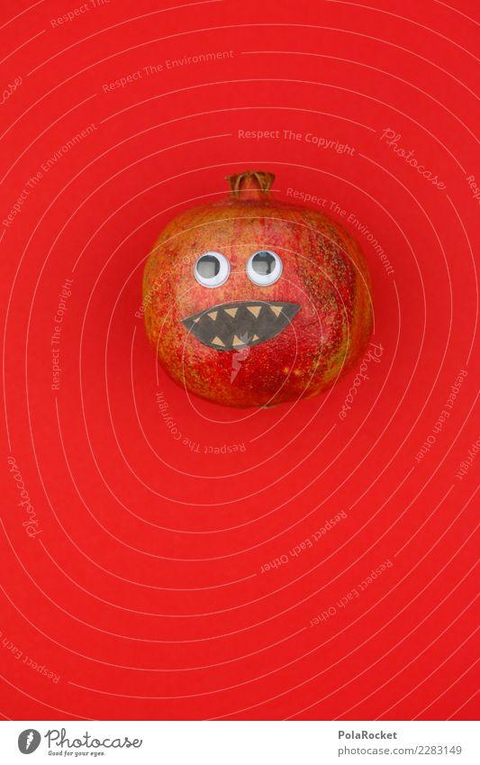 #AS# Mr. Grantig Fitness Sport-Training Essen Granatapfel Gesicht rot Südfrüchte lustig Experiment kaufen Gesunde Ernährung Gesundheit Vitamin Mund verrückt