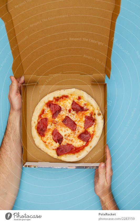 #AS# Zum Mittag Pizza! Kunst ästhetisch Salami Italienische Küche Snack Fastfood Auftrag Dienstleistungsgewerbe ungesund lecker Kalorienreich aufmachen Karton