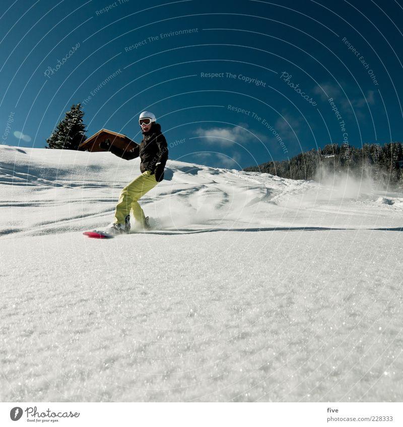 boarding Mensch Frau Himmel Natur Landschaft Freude Winter Berge u. Gebirge Erwachsene Schnee Sport Freizeit & Hobby Schönes Wetter Hügel Alpen Hütte