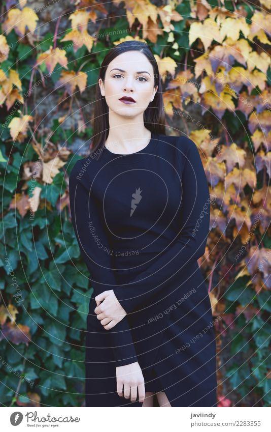 Schöne junge Frau mit Herbstblättern. Mensch Jugendliche Junge Frau schön weiß 18-30 Jahre Straße Erwachsene Lifestyle Stil Glück Haare & Frisuren Mode modern