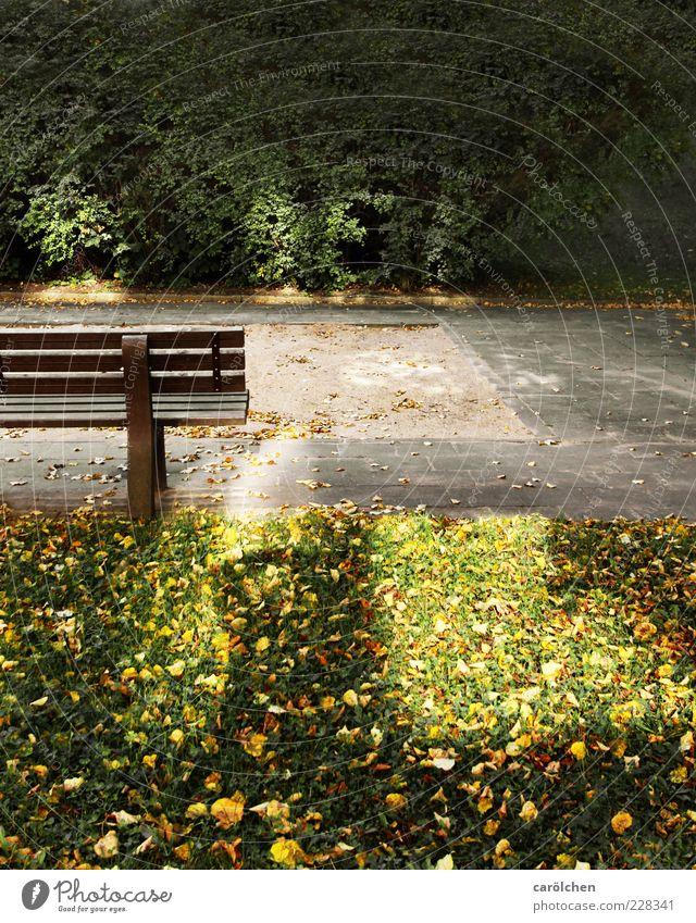 Kinder braucht das Land! grün Einsamkeit gelb gold leer Bank Spielplatz bewegungslos Sandkasten kinderlos