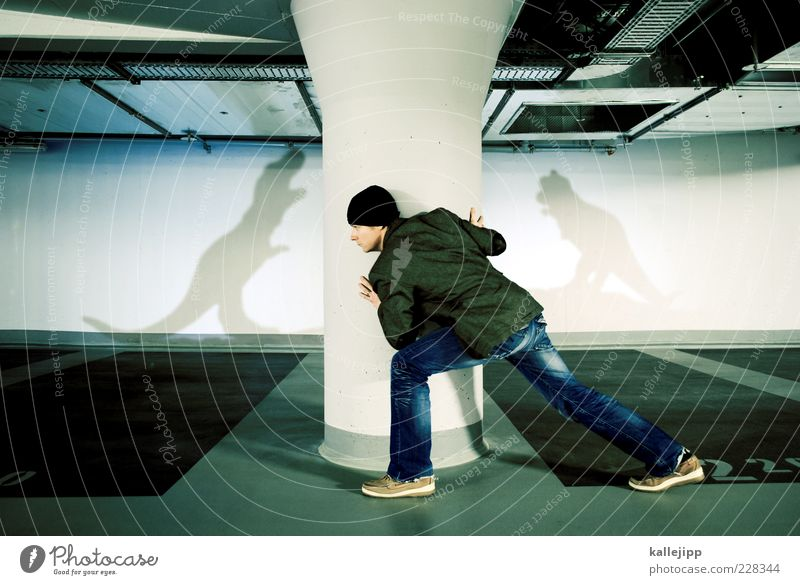 jurassic park Mensch maskulin Mann Erwachsene Leben 1 Parkhaus Bekleidung Jacke Schuhe Mütze Fressen Jagd Dinosaurier Säule Versteck Godzilla verstecken Angst