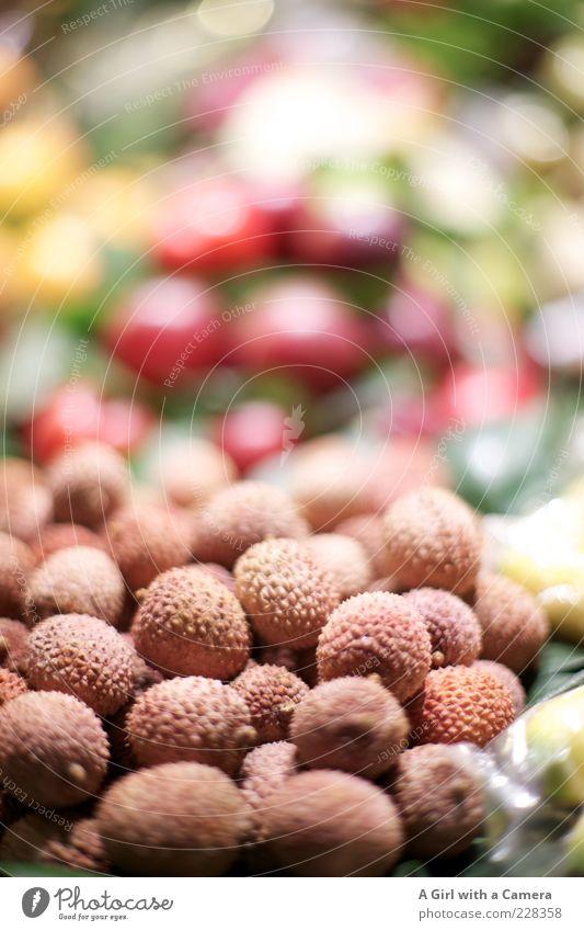 Litschis Lebensmittel klein braun rosa Frucht liegen frisch süß außergewöhnlich lecker reif Markt exotisch Stapel Vitamin saftig
