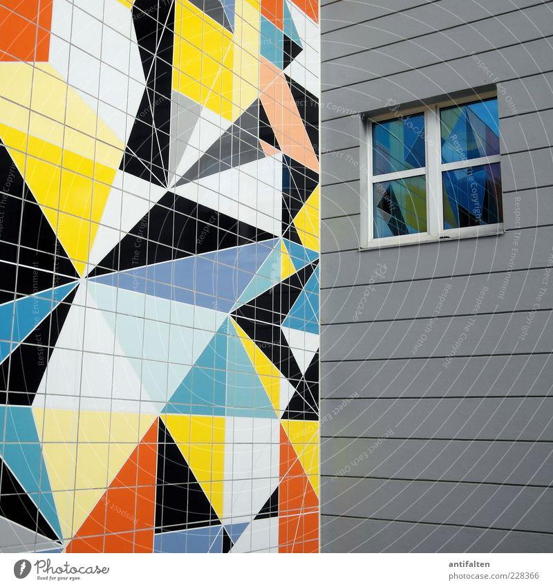 Bunte Ecken Haus Fenster Wand Architektur Mauer Deutschland Fassade Fröhlichkeit Museum Sehenswürdigkeit Düsseldorf eckig Kunstwerk Spiegelbild Mosaik