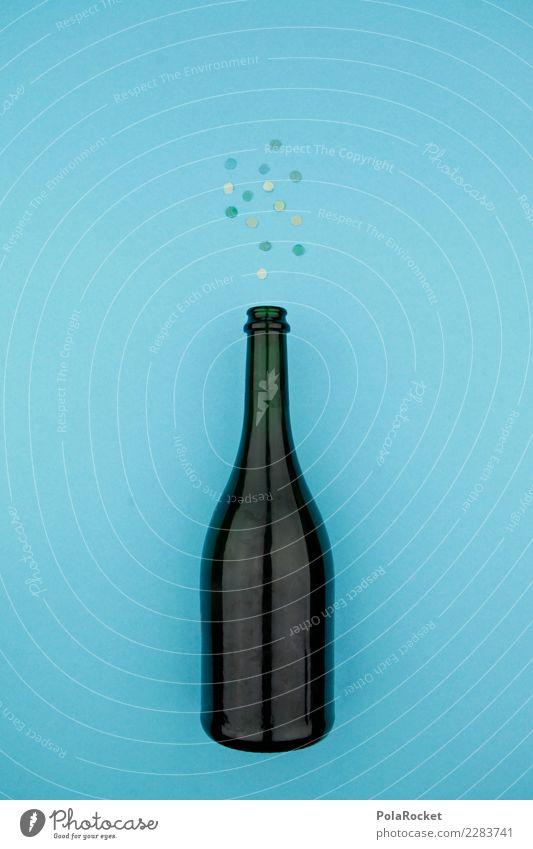 #AS# Sprudel Kunst ästhetisch Alkohol Alkoholisiert Alkoholsucht Flasche Sektflasche Champagner Zuprosten Silvester u. Neujahr blau Kohlensäure Jubiläum