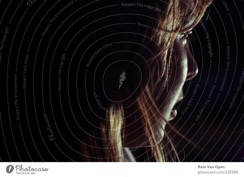Porträt Mensch feminin Junge Frau Jugendliche Kopf 1 18-30 Jahre Erwachsene Haare & Frisuren brünett blond rothaarig Gefühle Stimmung Silhouette Kontrast dunkel