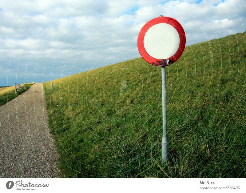 Feierabendverkehr aufm Land Natur grün Wolken Einsamkeit Straße Wiese Umwelt Landschaft Gras Wege & Pfade Wetter Deutschland Horizont Schilder & Markierungen