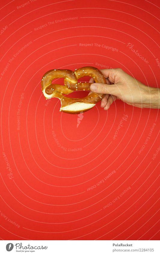#AS# Brezen maskulin Hand Essen rot Brezel Oktoberfest Appetit & Hunger salzig schenken Laugengebäck Markt frisch neu Kreativität Experiment klein Snack
