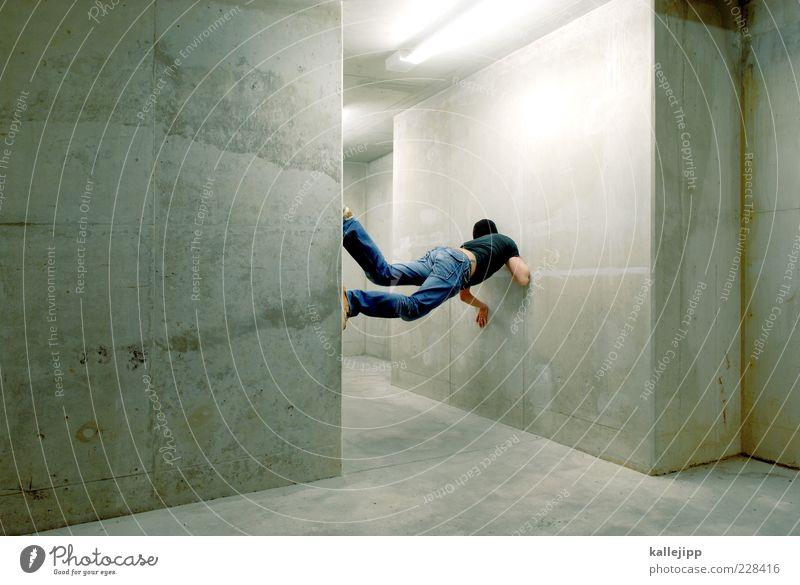 hochstapler* Mensch Mann Erwachsene Wand Mauer maskulin Beton T-Shirt Jeanshose Klettern Fitness Mütze Tunnel Sport-Training Freestyle