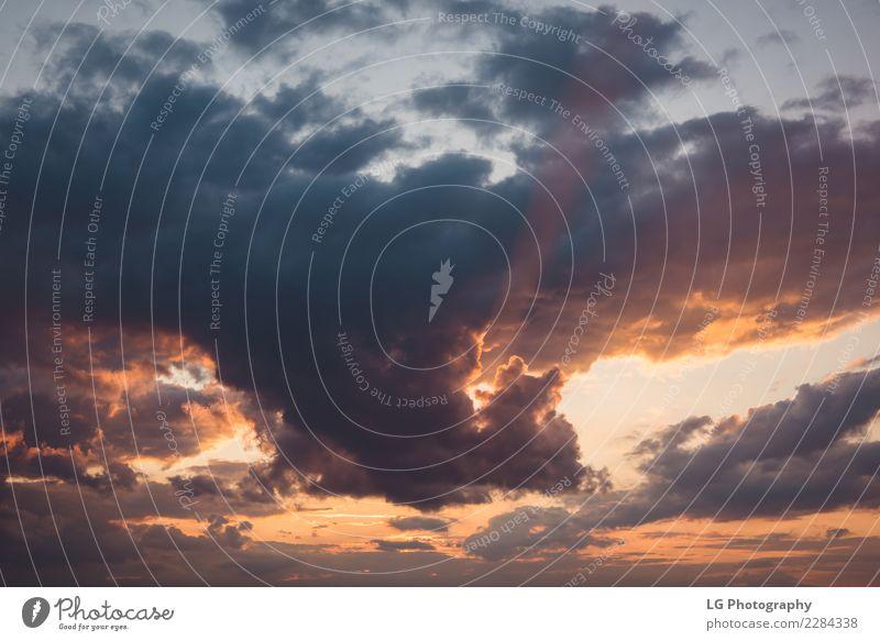 Drastischer bunter bewölkter Sonnenuntergang. schön Sommer Meer Tapete Natur Landschaft Himmel Wolken Horizont Küste See blau gelb weiß Farbe Aussicht orange