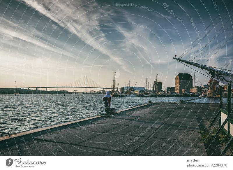 kalter Stralsunder Morgen Mann blau Stadt weiß Haus Erwachsene grau braun rosa Kirche Brücke Sehenswürdigkeit Bauwerk Hafen Altstadt Schifffahrt