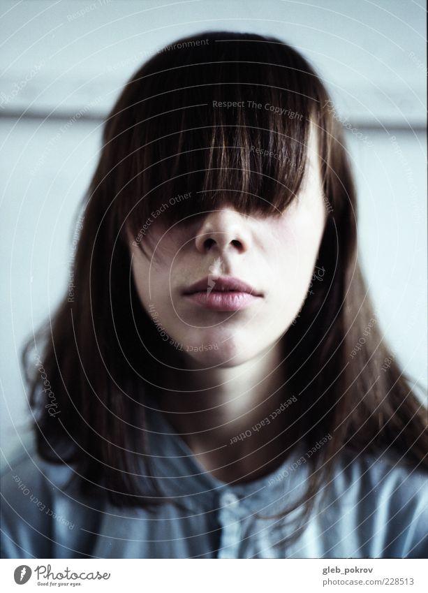 Mensch Jugendliche blau weiß Auge Kopf Haare & Frisuren Mund Nase natürlich niedlich Lippen Freundlichkeit Frau Hemd Russland