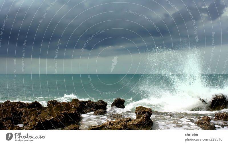 WOschschschsch... Himmel Natur Wasser blau weiß grün Strand Wolken Einsamkeit Ferne Freiheit Umwelt Küste Wellen Horizont Wind