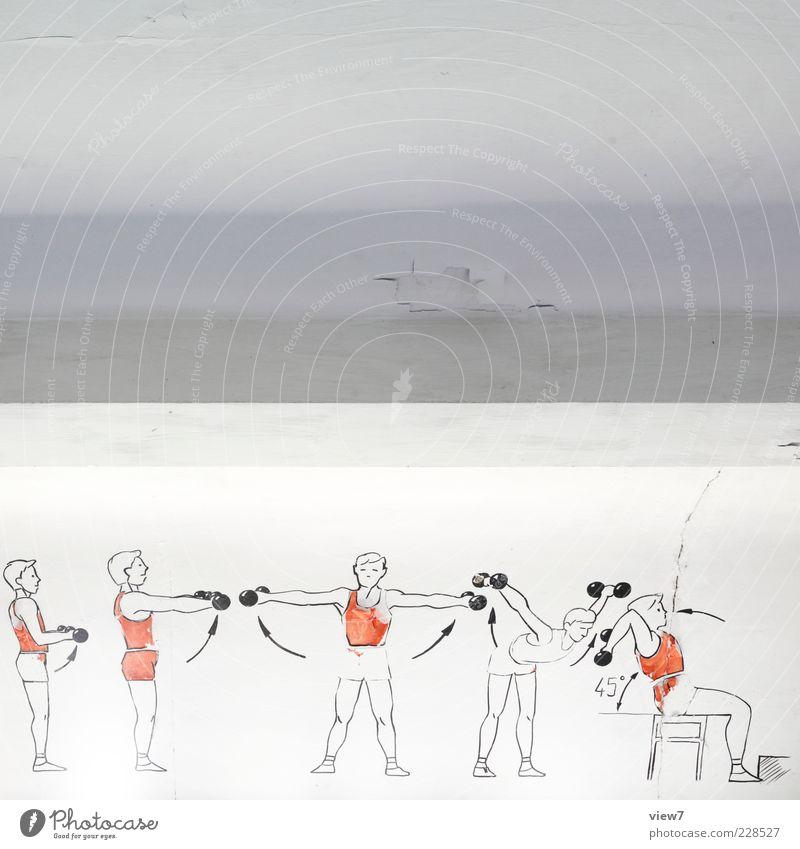 Muckibude alt weiß rot Sport oben Stein Linie elegant authentisch modern Beton ästhetisch einfach Fitness Streifen retro