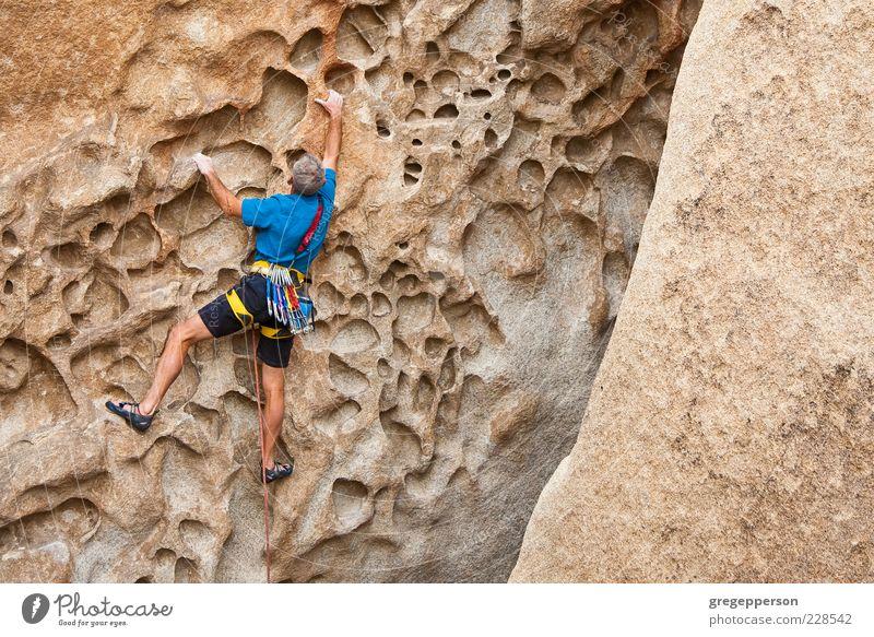 Kletterer, der sich an eine Klippe klammert. Abenteuer Sport Klettern Bergsteigen Seil Mann Erwachsene 1 Mensch sportlich hoch Tapferkeit selbstbewußt Erfolg