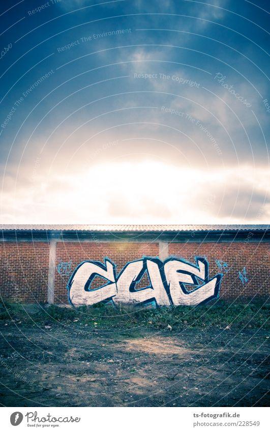 Graffiti Sunrise blau Wolken Farbe Wand Umwelt Sand Mauer Stein Kunst braun Schriftzeichen bedrohlich Bauwerk Vergänglichkeit Zeichen