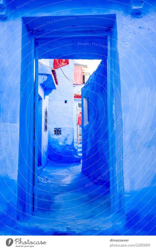 Blaue Wand und Tür, Chefchaouen Ferien & Urlaub & Reisen Tourismus Berge u. Gebirge Haus Kultur Dorf Stadt Gebäude Architektur Treppe Straße alt blau Farbe