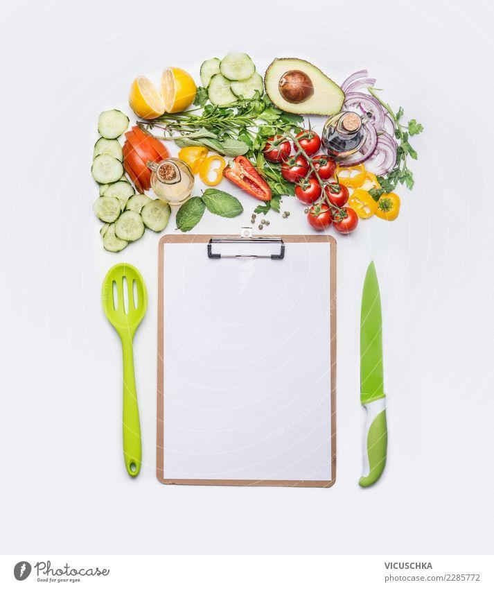 Salat Gemüse mit Blatt für Kochrezepte Gesunde Ernährung Foodfotografie Essen Hintergrundbild Stil Lebensmittel Design Textfreiraum frisch Papier Restaurant