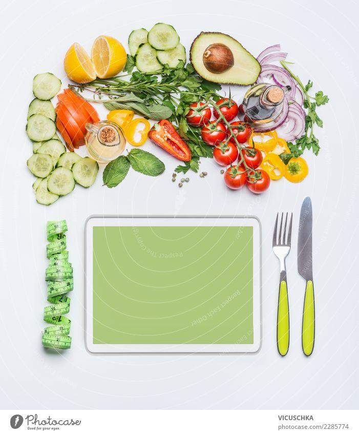 Modern gesund und ausgewogen zu ernähren Lebensmittel Gemüse Kräuter & Gewürze Öl Ernährung Mittagessen Bioprodukte Vegetarische Ernährung Diät Besteck kaufen