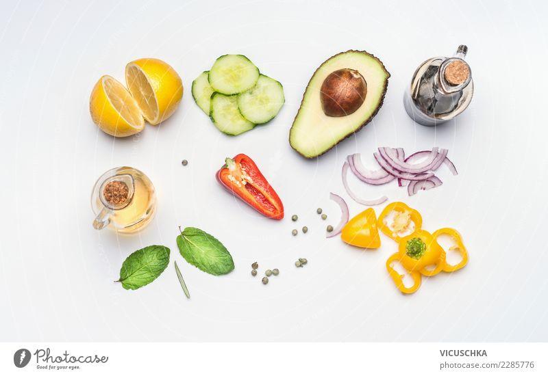 Frische salat vegetables Lebensmittel Gemüse Salat Salatbeilage Kräuter & Gewürze Öl Ernährung Mittagessen Bioprodukte Diät Stil Design Gesunde Ernährung