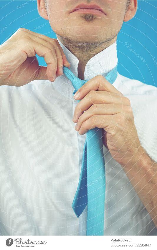 #AS# Hoher Kragen IV Kunst ästhetisch Mode Model Stil Bekleidung anziehen Krawatte Krawattenknoten blau Mann maskulin Business Bankkaufmann professionell Anzug