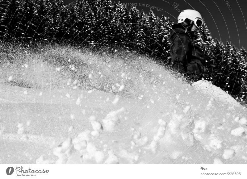 drive Ferien & Urlaub & Reisen Winter Wald Schnee Freizeit & Hobby Lebensfreude Schönes Wetter Coolness fahren Skifahren sportlich Dynamik Skifahrer Wintersport Helm Winterurlaub