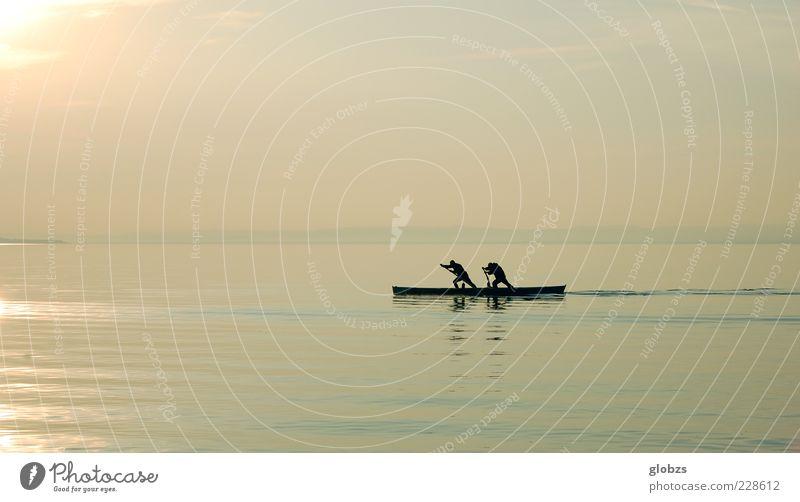 flotter Zweier Freizeit & Hobby Ferien & Urlaub & Reisen Freiheit Fitness Sport-Training Wassersport Sportler Rudern Natur Horizont Sonnenlicht See ästhetisch