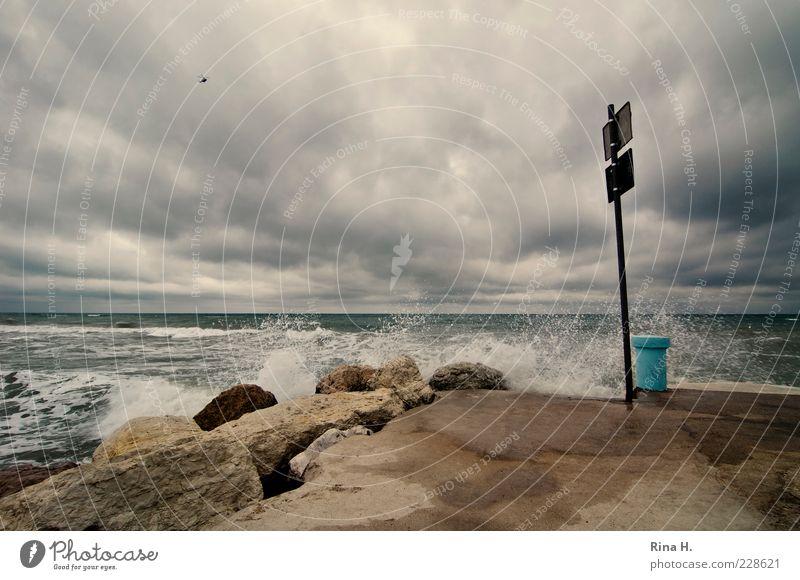 Sturm über der Adria II Himmel Natur Wasser Ferien & Urlaub & Reisen Sommer Meer Wolken dunkel Umwelt Stein Wellen Horizont Wind Tourismus wild Klima
