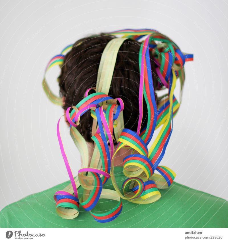 Antikarnevalist Mensch Mann grün Erwachsene Haare & Frisuren Kopf Feste & Feiern außergewöhnlich maskulin Fröhlichkeit Dekoration & Verzierung T-Shirt Kitsch