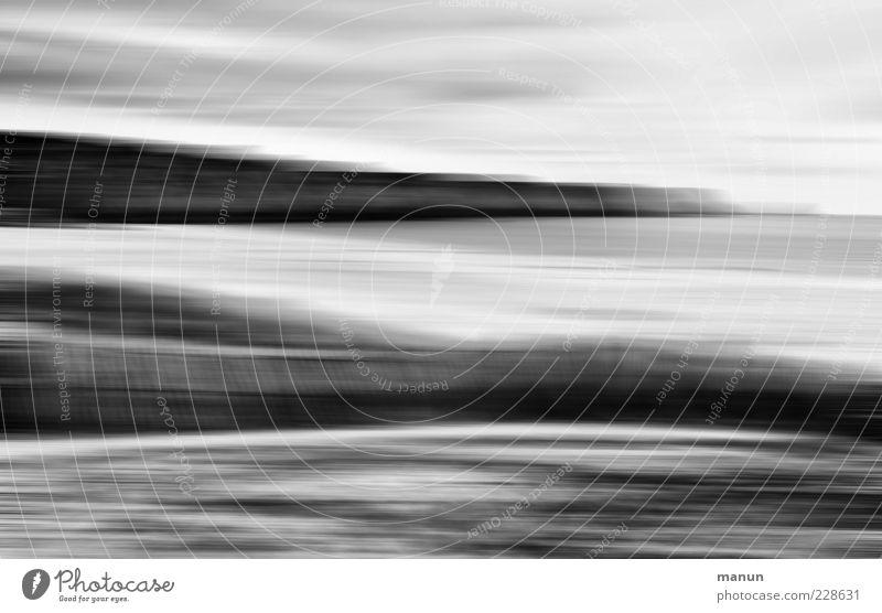 Strandbereiche Natur Landschaft Urelemente Küste Meer Schwarzweißfoto Tag außergewöhnlich Bewegungsunschärfe abstrakt Menschenleer