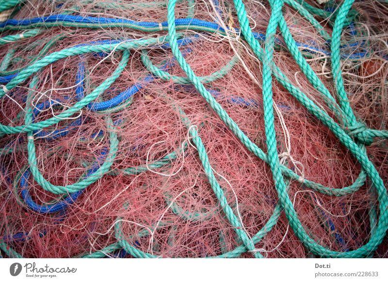 Fritz F. hat heute frei blau rosa liegen Seil Netzwerk türkis durcheinander Haufen maritim Schlaufe Fischernetz