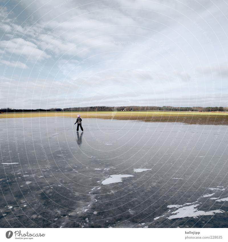 frozen Lifestyle Freizeit & Hobby Sport Wintersport Mensch feminin Junge Leben 1 3-8 Jahre Kind Kindheit Umwelt Natur Landschaft Klima Eis Frost Teich See