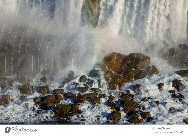 Niagara Nebel Umwelt Natur Landschaft Urelemente Erde Luft Wasser Wassertropfen Fluss Wasserfall wild Niagara Fälle Stein Regenbogen Wasserwirbel Farbfoto