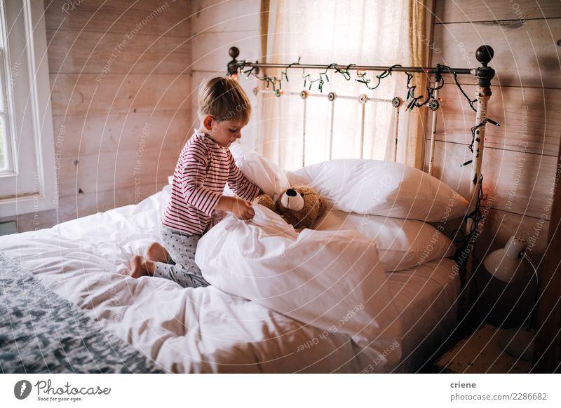 Netter kleiner Junge setzt Teddy zum schlafen Lifestyle Winter Schlafzimmer Kind Mensch maskulin Kleinkind Kindheit 1 1-3 Jahre 3-8 Jahre Hütte Spielzeug