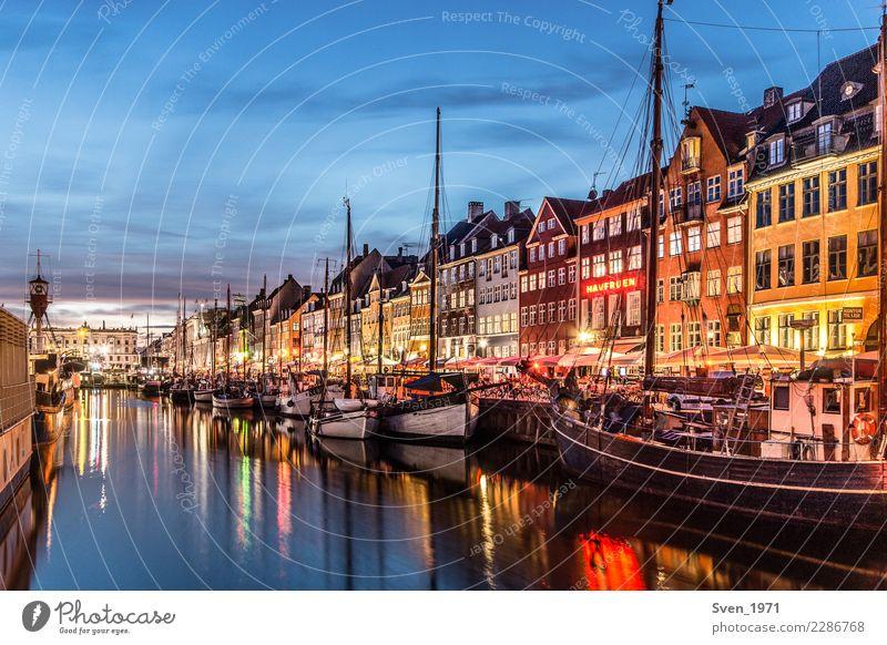 Nyhavn Kopenhagen am Abend Ferien & Urlaub & Reisen Tourismus Städtereise Nachtleben Segeln Sonnenaufgang Sonnenuntergang Ostsee Dänemark Europa Hauptstadt