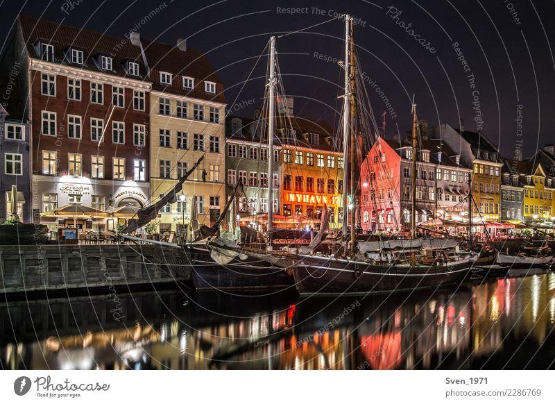 Nyhavn Kopenhagen bei Nacht Ferien & Urlaub & Reisen Städtereise Nachtleben Segeln Ostsee Dänemark Europa Hauptstadt Hafenstadt Schifffahrt Segelschiff