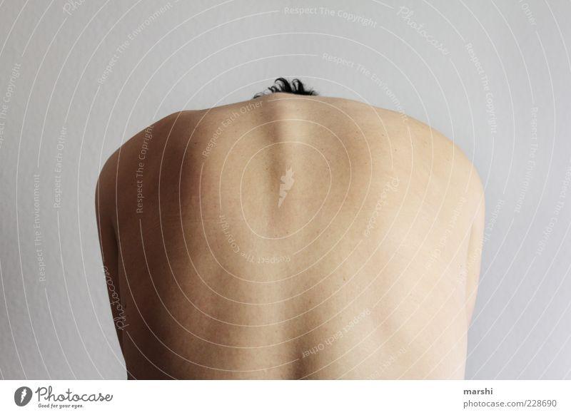 Stierrücken Mensch feminin Frau Erwachsene Körper Haut Rücken 1 nackt Wirbelsäule krumm Rückenschmerzen Bogen Farbfoto Innenaufnahme Rückansicht vorbeugen