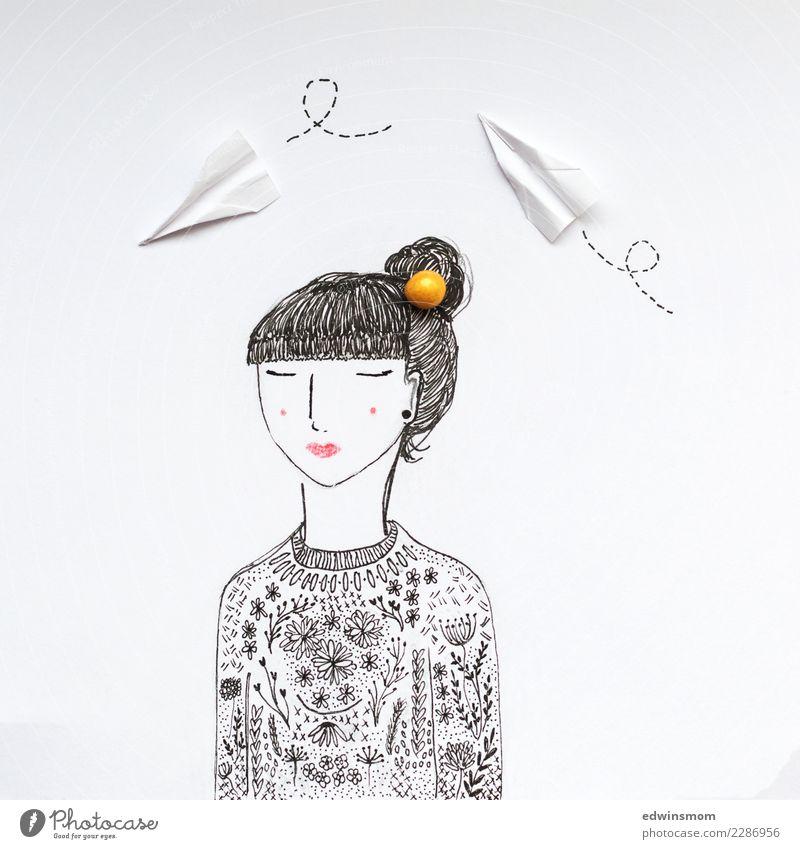 Dreams Freizeit & Hobby Basteln feminin 1 Mensch Pullover schwarzhaarig Papier Dekoration & Verzierung Papierflieger atmen genießen Coolness natürlich schön