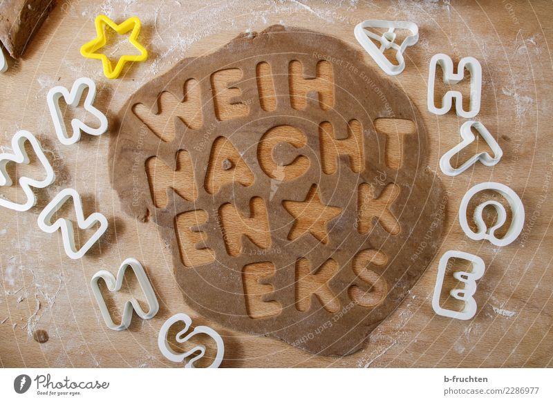 Weihnachtsbäckerei Süßwaren Weihnachten & Advent Schriftzeichen braun backen Keks Plätzchen Backwaren Teigwaren Ausstechform Strukturen & Formen Buchstaben