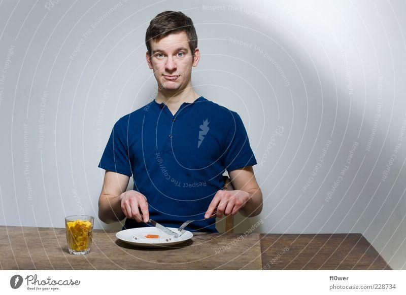 Pixelfood Ernährung Essen Frühstück Getränk Saft Geschirr Teller Tasse Glas Besteck Messer Mensch maskulin 1 18-30 Jahre Jugendliche Erwachsene Holz schön